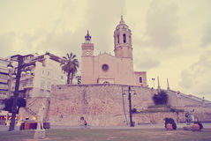 Architecture of the Spanish seaside resort Sitges; retro Instagram style Royalty Free Stock Images