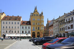 Architecture at the square in historic center of Ceske Budejovice. Royalty Free Stock Images