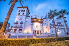 Architecture of St Augustine, Florida at sunset.  stock image