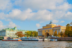 Architecture of St Petersburg - Admiralty arch and Winter Palace on the embankment of Neva river in St Petersburg,Russia Stock Photo