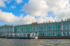 Architecture of St Petersburg - Winter Palace on the embankment of Neva river in St Petersburg,Russia Royalty Free Stock Photos