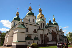 The architecture of St. Sophia Cathedral with beautiful domes. Royalty Free Stock Photography