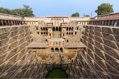 Architecture of stairs at Abhaneri baori stepwell in Jaipur Rajasthan india