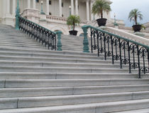 Architecture: Steps and banister leading to US Capitol Building in Washington DC Stock Images
