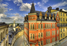 Architecture, Stockholm south. Old buildings in Stockholm south area stock photography