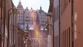 Architecture of Stockholm, Sweden. Tower and city square with sunshine in summer time. Baroque buildings and landmark of Sweden stock footage