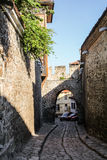 Arch in streets of old town Plovdiv, Bulgaria royalty free stock photos
