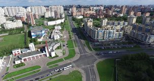 Architecture, Streets and apartments aerial in Moscow stock video