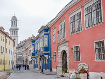 Architecture in streets of city Sopron in Hungary. Architecture and buildings of Sopron town in Hungary Royalty Free Stock Image