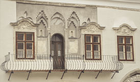 Architecture in streets of city Sopron in Hungary. Facade of a building in Sopron town, Hungary Stock Images