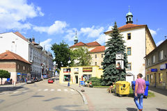 Architecture on the streets of town Benesov Stock Photos
