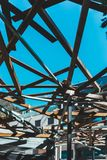 Architecture structure with wood from below stock photography