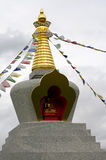 Architecture stupa and prayer flags Czech Republic Royalty Free Stock Photo