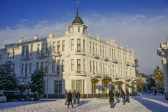 The Architecture Of Sukhum. In the winter, the youth plays in the snow Royalty Free Stock Photos