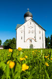 Architecture summer landscape of old church of the Transfiguration of Our Savior in Veliky Novgorod, Russia Stock Image