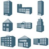Architecture Symbol Set in Monochrome Blue Stock Photos