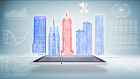 Architecture in the Tablet PC. Skyscrapers and graphics. 3d rendering Stock Photography