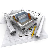 Architecture technical bathroom. Technical details of home construction, bathroom Royalty Free Stock Photo
