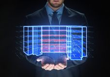 Close up of businessman with virtual projection royalty free stock image