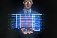 Close up of businessman with virtual projection royalty free stock photos