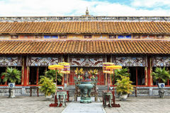 Architecture of temple the Hue ancient citadel, Vietnam stock images