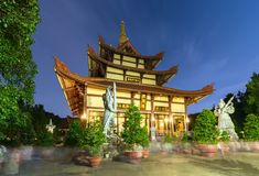 Architecture temple at night when lights flickered as glorified spiritual beauty. Stock Images