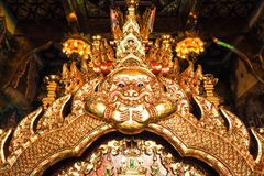 Architecture of Thai gold ogre giant in chaple. Architecture of Thai gold ogre giant and  nagalegend serpent in chaple Stock Photography