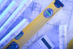 Architecture theme. Blueprints. Architecture concept. Workplace of architect Stock Images