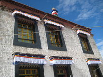 Architecture in Tibet. Tibetan monastery high in the mountains. Nepal Royalty Free Stock Photos