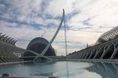 Architecture to dream, City of Arts adn Sciences. Designed by architect Calatrava, it is part of the `City of Arts and Sciences` of Valencia royalty free stock images