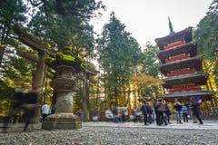 Architecture of Toshogu Shrine temple in Nikko, Japan. NIKKO, JAPAN - NOVEMBER 13, 2016: Tourists at Toshogu Shrine temple in Nikko, Japan. Nikko is a popular Royalty Free Stock Images