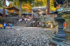 Architecture of Toshogu Shrine temple in Nikko. NIKKO, JAPAN - NOVEMBER 13, 2016:Architecture of Toshogu Shrine temple in Nikko, Japan. Nikko is a popular Stock Photos