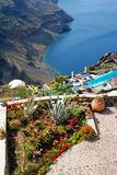 Architecture traditionnelle de village d'Oia sur l'île de Santorini Image libre de droits