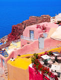 Architecture traditionnelle de village d'Oia sur l'île de Santorini Photographie stock