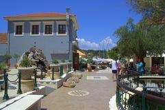 Architecture traditionnelle de village grec d'île Photos stock