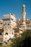 Architecture traditionnelle yéménite de vieille ville de Sanaa Photos stock