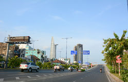 Architecture, traffic, ads in Saigon. HO CHI MINH CITY, VIETNAM - AUG 25, 2015. Architecture, traffic, ads, advertisements in the centre of Ho chi minh city ( stock images