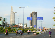 Architecture, traffic, ads in Saigon. HO CHI MINH CITY, VIETNAM - AUG 25, 2015. Architecture, traffic, ads, advertisements in the centre of Ho chi minh city ( royalty free stock photos