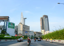 Architecture, traffic, ads in Saigon. HO CHI MINH CITY, VIETNAM - AUG 25, 2015. Architecture, traffic, ads, advertisements in the centre of Ho chi minh city ( stock photos