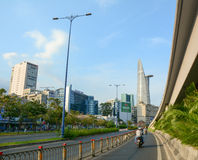 Architecture, traffic, ads in Saigon. HO CHI MINH CITY, VIETNAM - AUG 25, 2015. Architecture, traffic, ads, advertisements in the centre of Ho chi minh city ( stock photo