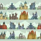 Architecture trapézoïdale de tour de palais de château de conte de fées de bande dessinée établissant le vecteur sans couture de  Photo libre de droits