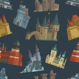 Architecture trapézoïdale de tour de palais de château de conte de fées de bande dessinée établissant le vecteur sans couture de  Photos libres de droits