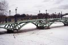 Architecture of Tsaritsyno park in Moscow. Bridge over a frozen pond Stock Photos