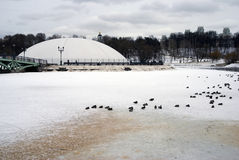 Architecture of Tsaritsyno park in Moscow. Bridge over a frozen pond Stock Photo