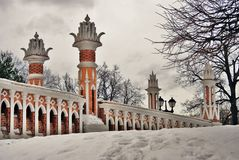 Architecture of Tsaritsyno park in Moscow. Figured bridge Stock Image
