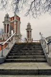 Architecture of Tsaritsyno park in Moscow. Figured bridge Stock Photos