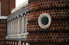 Architecture of Tsaritsyno park in Moscow. Figured bridge Stock Photography