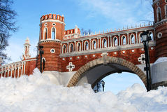 Architecture of Tsaritsyno park in Moscow.  Figured bridge. MOSCOW - FEBRUARY 28, 2016: Architecture of Tsaritsyno park in Moscow in winter. Color photo. Popular Royalty Free Stock Image