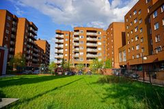 New modern housing estate in Lodz - Typical housing Stock Images