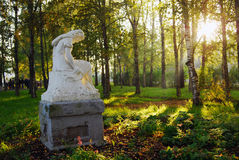 Architecture of Tutaev town, Russia. Sculpture in a city park. Royalty Free Stock Image